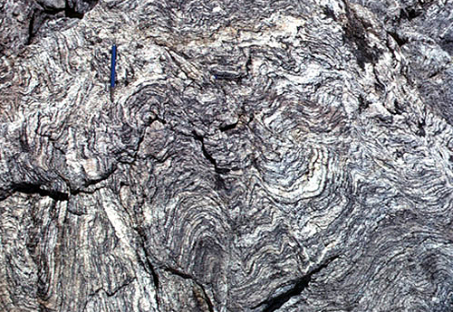 Folded Gneiss a Metamorphic Rock (Source: USGS)