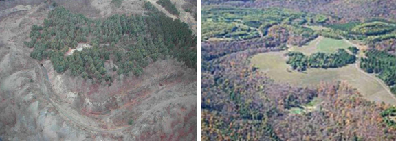 Left: Hazardous highwall and highly acidic water impoundment at Dents Run Watershed site PA 3898 prior to reclamation. Right: Aerial view of site PA 3898 after reclamation.