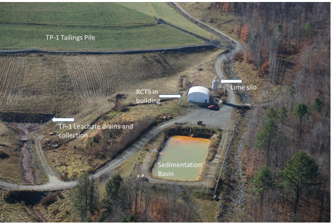 Aerial view of RCTS treatment building and sedimentation basin