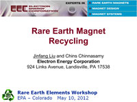 Jinfang Liu's 2012 Rare Earth Elements Workshop Presentation