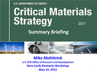 Michael Mckittrick's 2012 Rare Earth Elements Worshop Presentation
